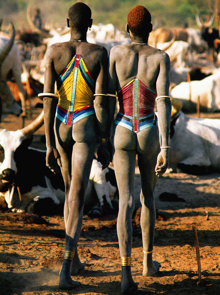 Dinka Men in Beaded Corsets, South Sudan