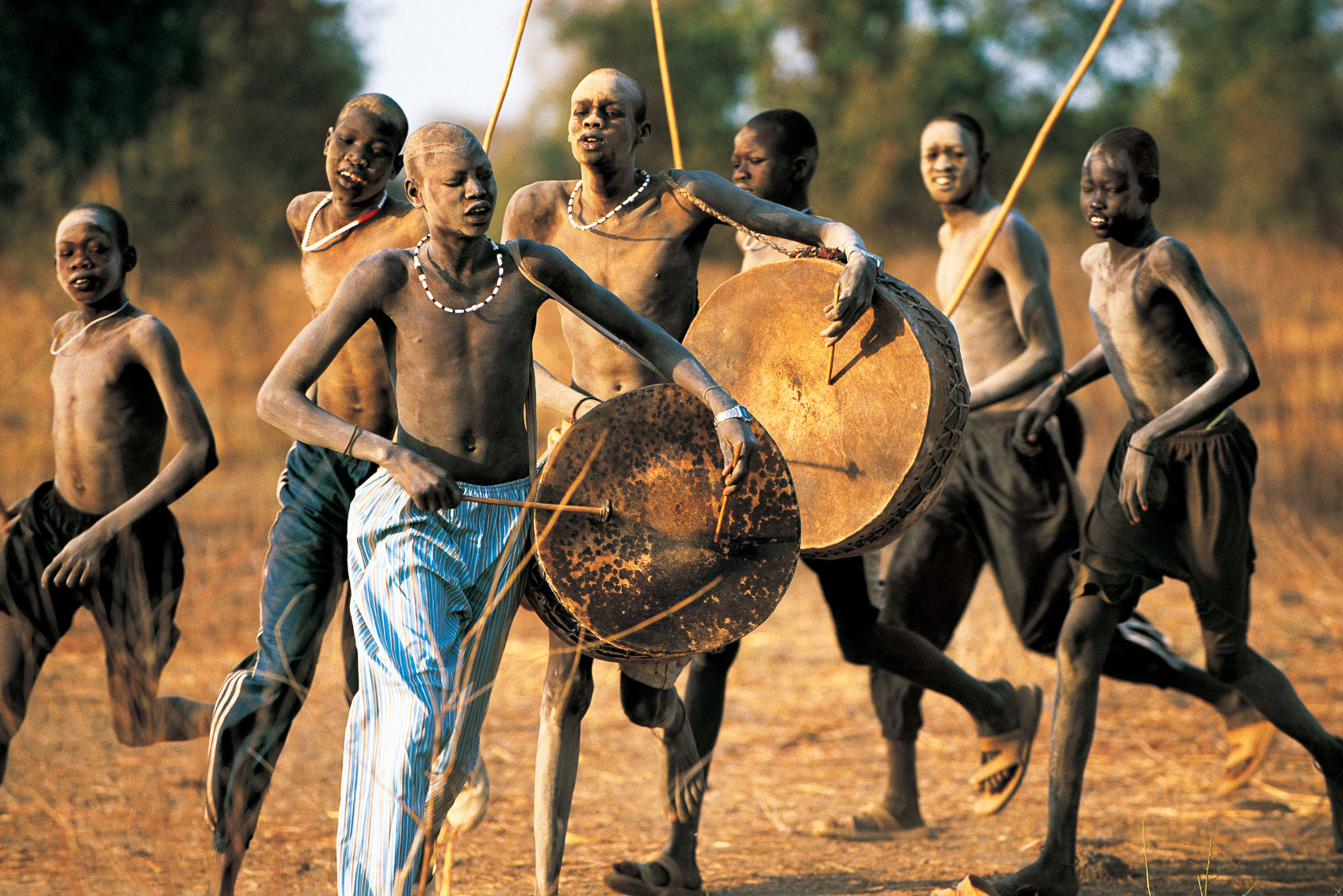 Dinka Boys Parading Around Cattle Camp, South Sudan