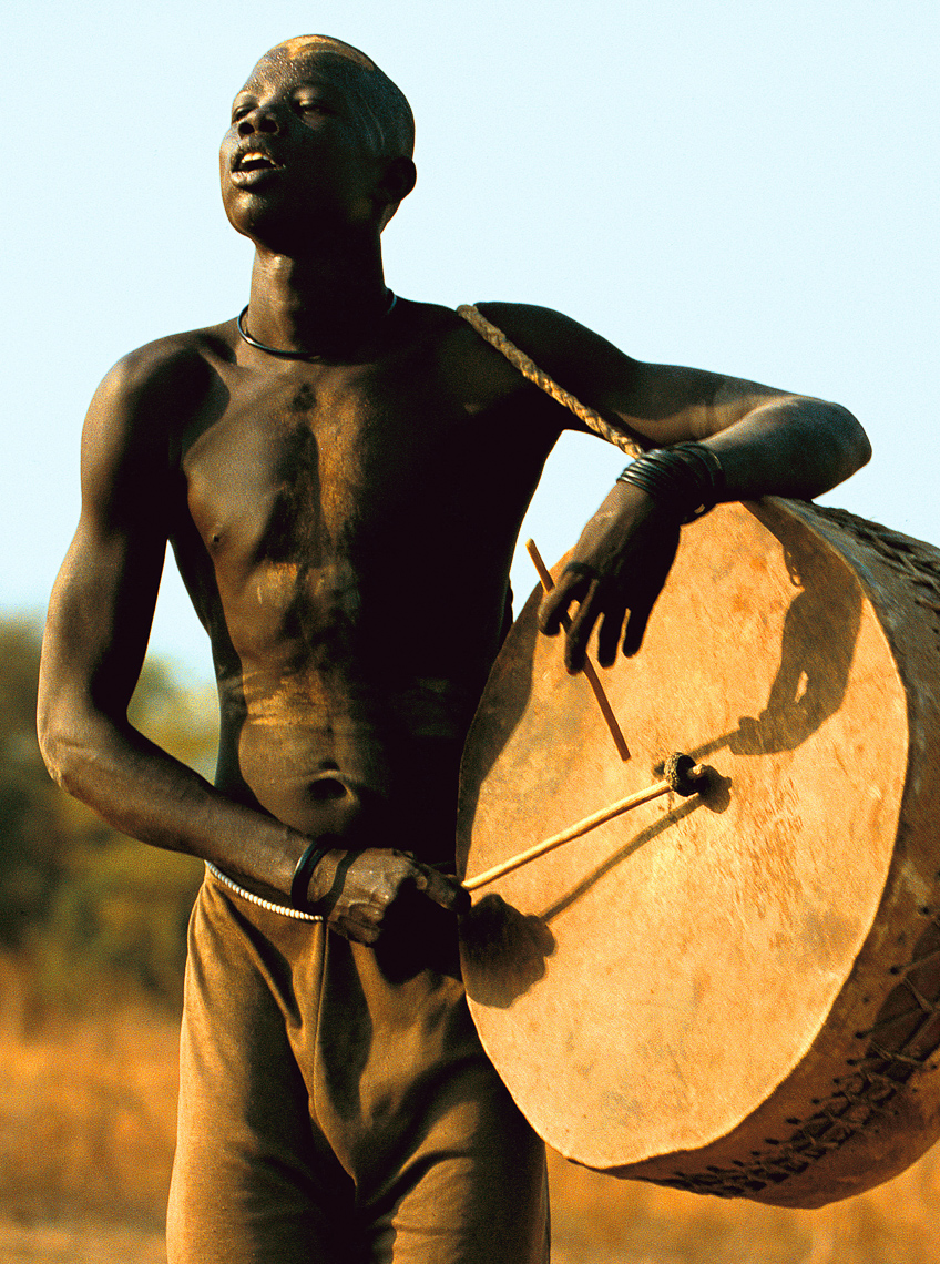 Dinka Man with Drum, South Sudan