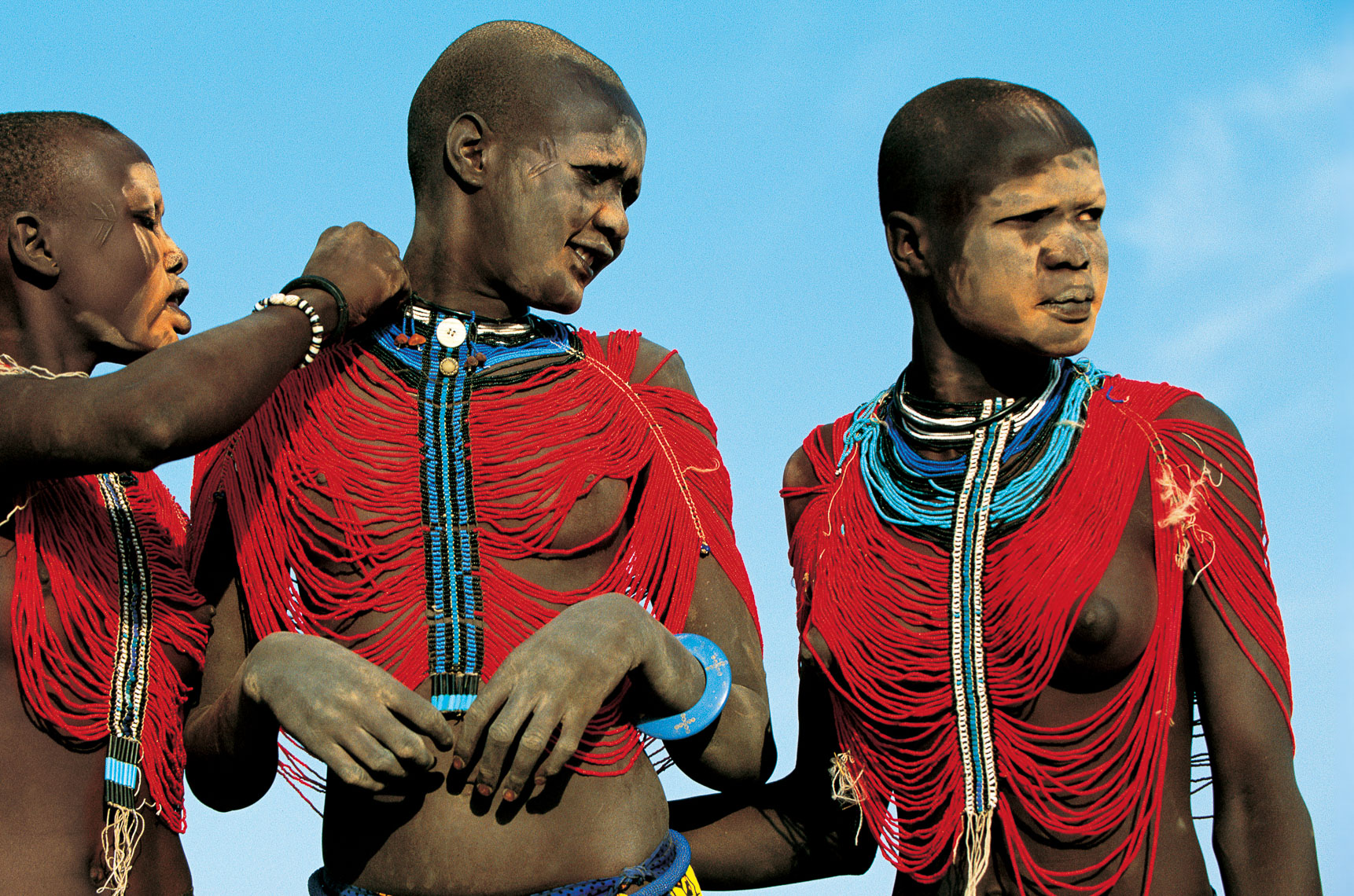 Dinka Girls in Beaded Bodices Before a Courtship Dance, South Sudan