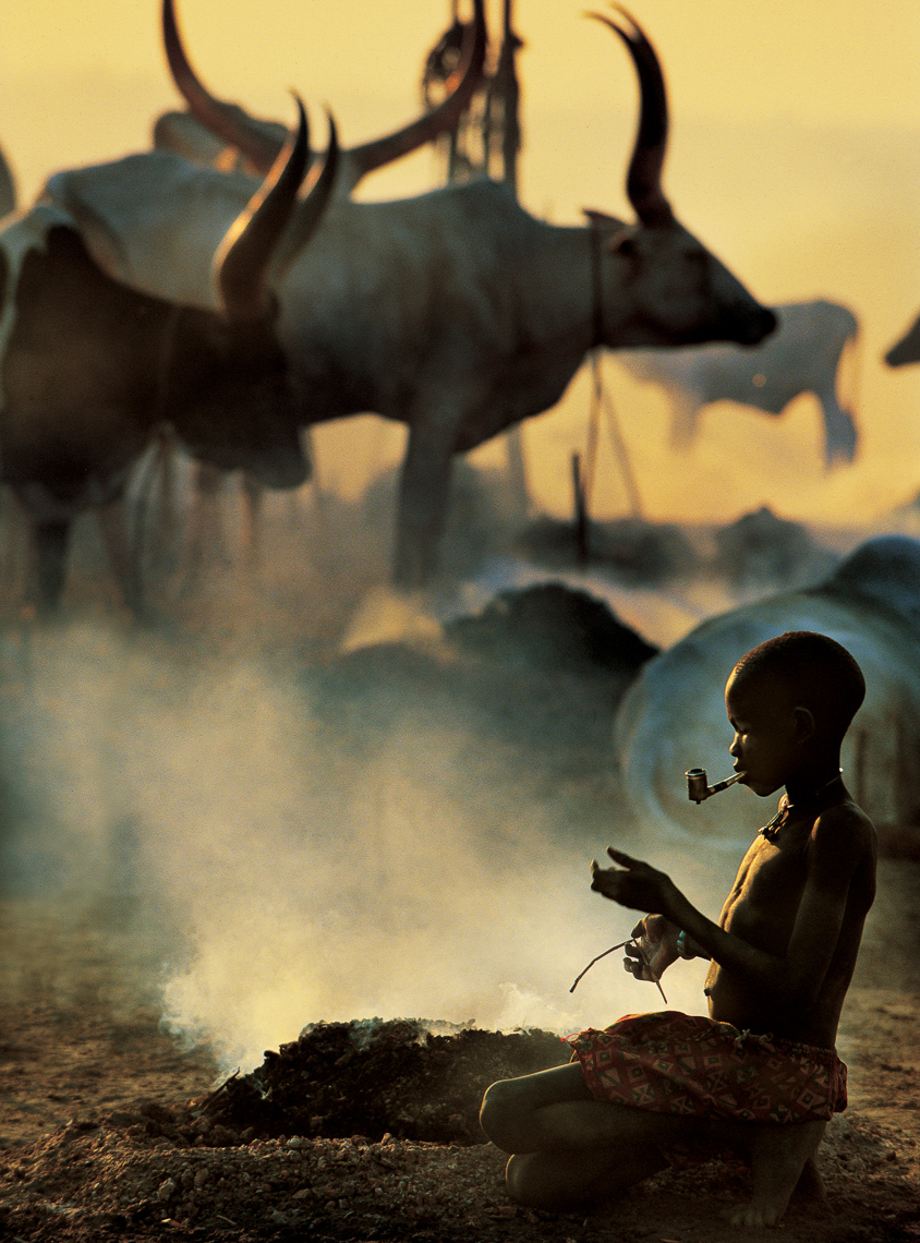 Dinka Girl at Dung Fire, South Sudan
