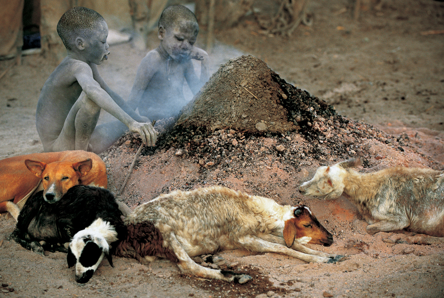 Dinka Children by Fire Side, South Sudan