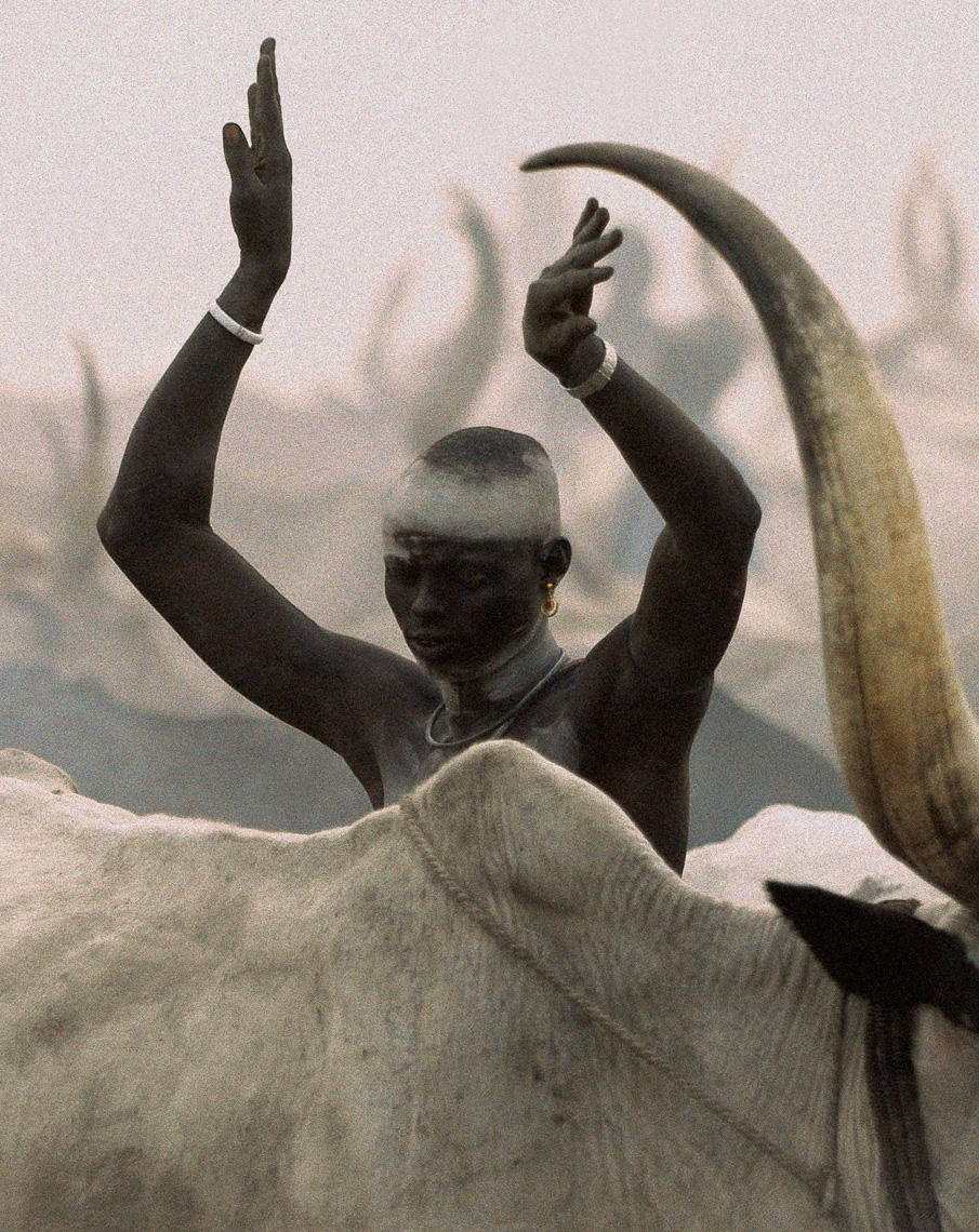 Dinka Man Imitating Horns, South Sudan