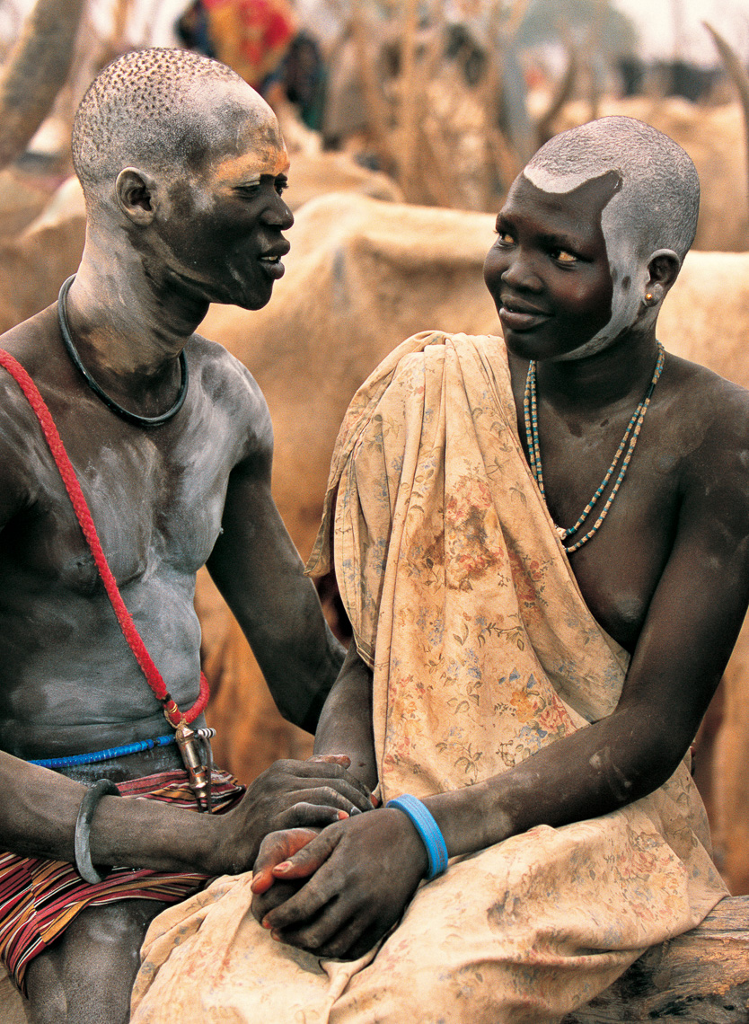 Dinka Man and Girl Courting at a Cattle Camp