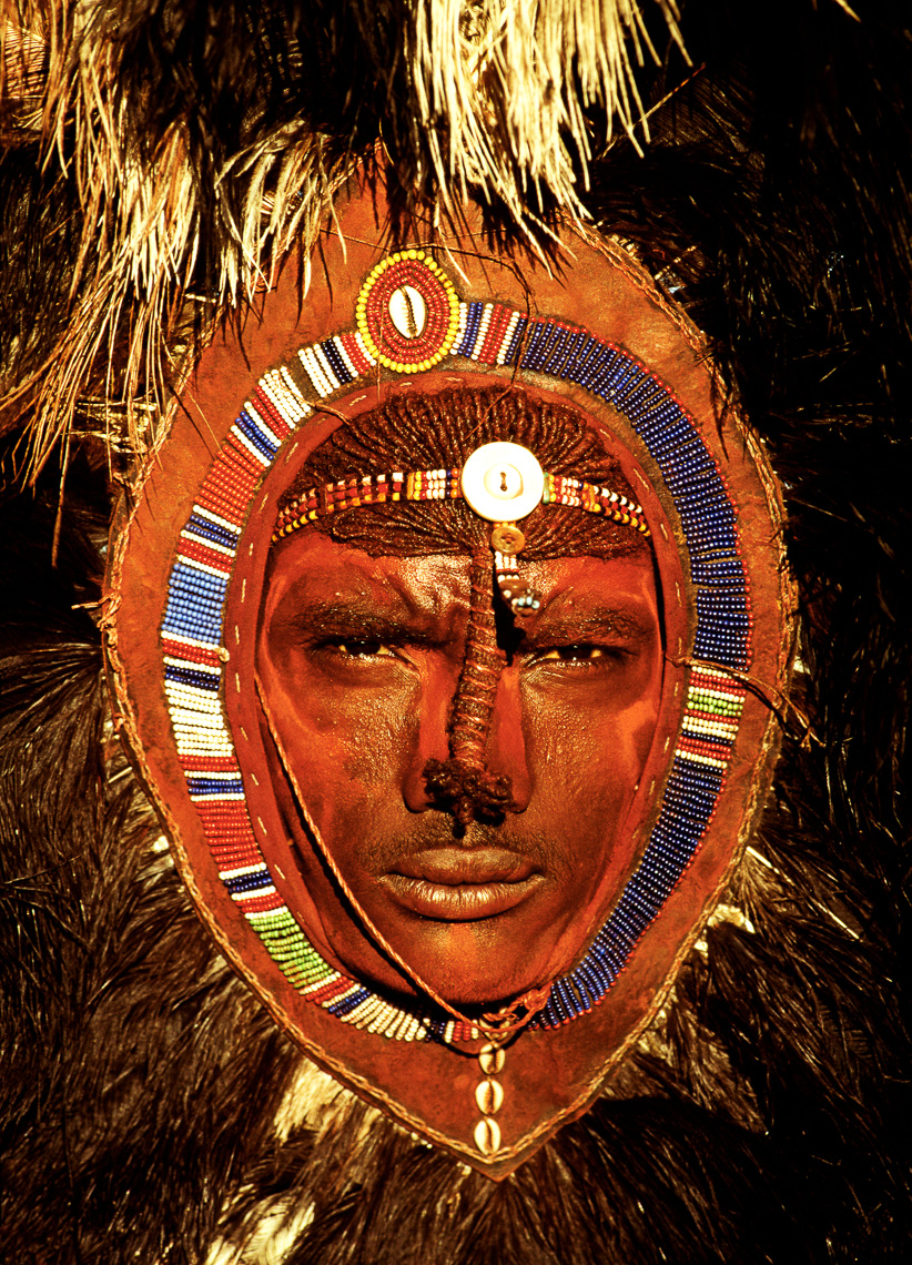 Maasai Warrior with Ostrich-Feather Headdress
