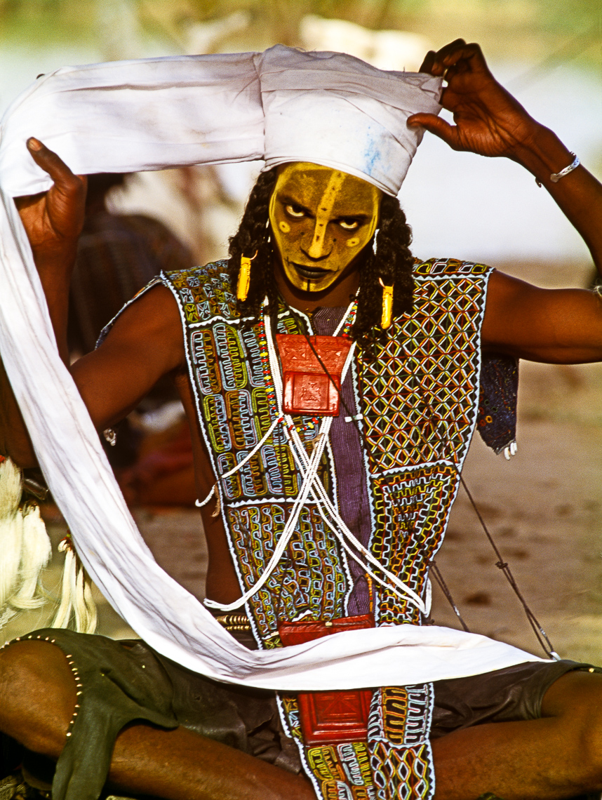 Wodaabe Man Preparing for Charm Dance