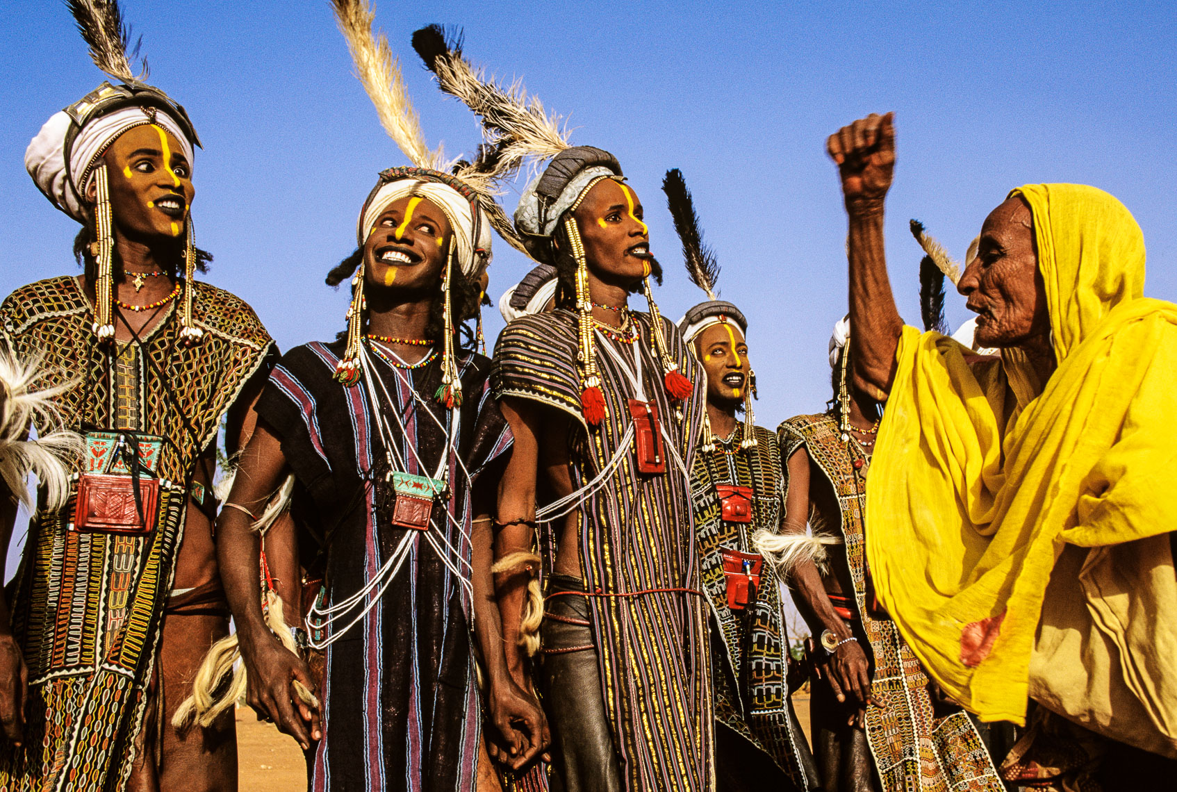 Wodaabe Male Charm Dancers with Female Judge