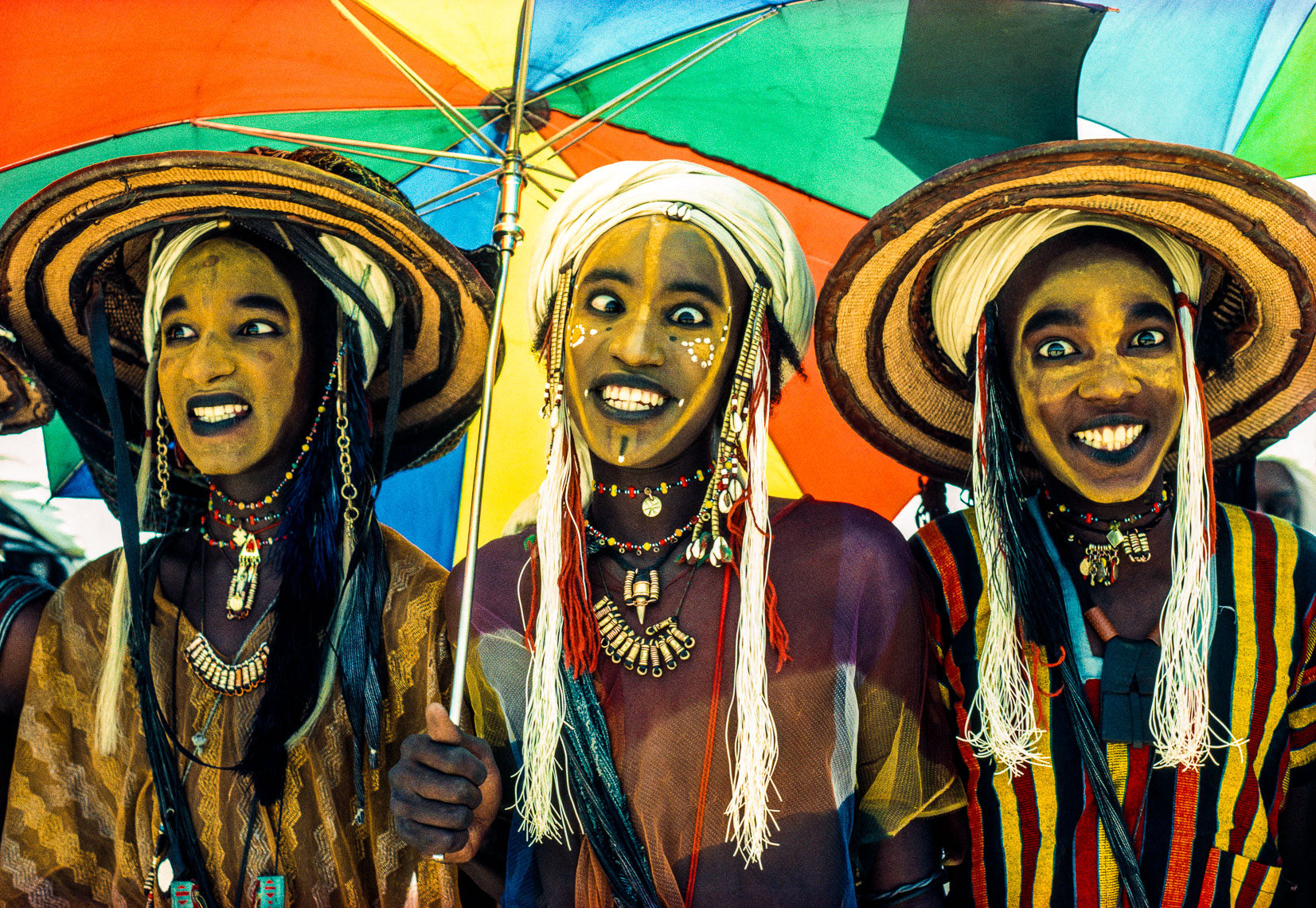 Three Wodaabe Male Charm Dancers