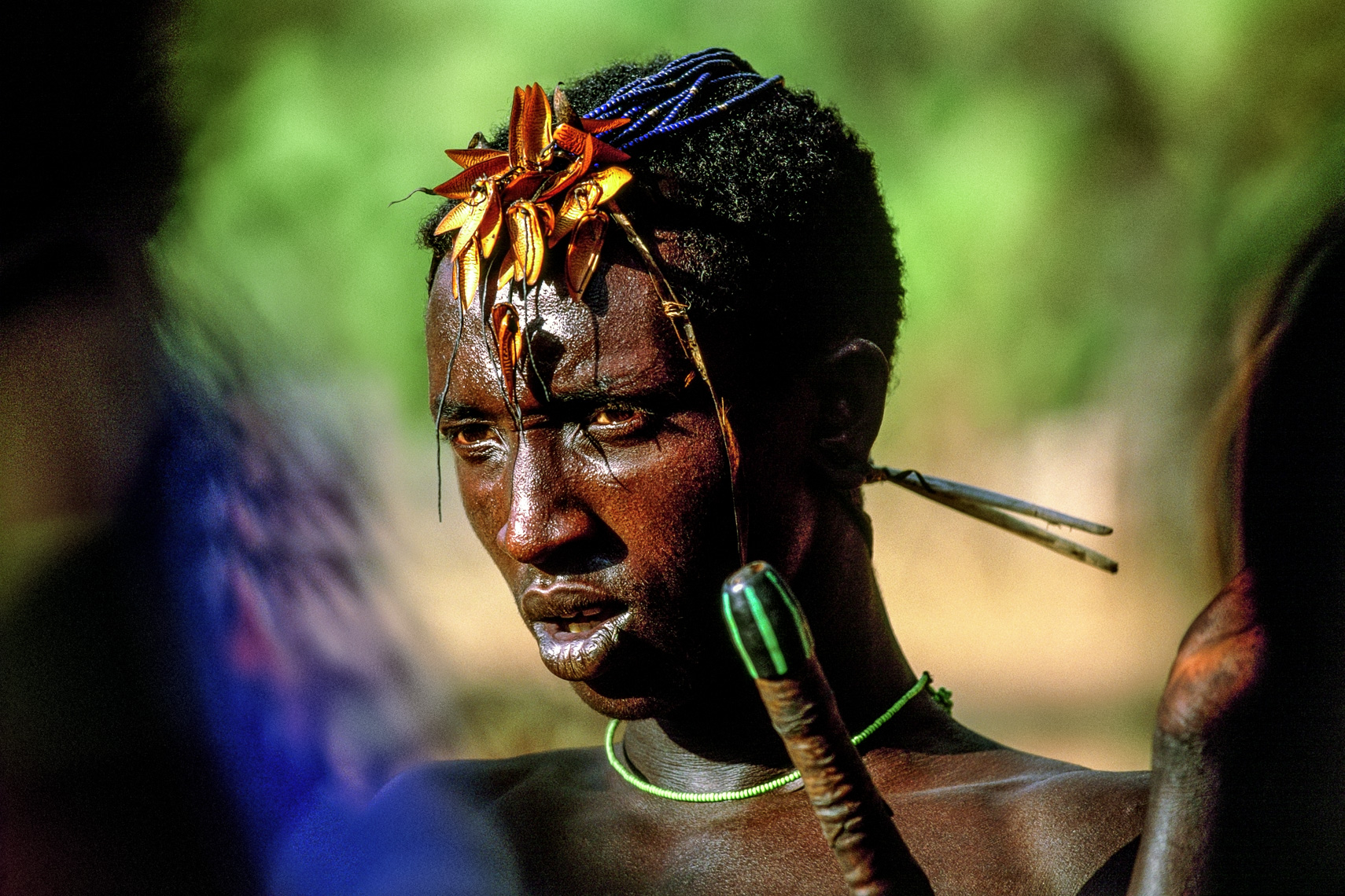 Samburu Initiate with Beetle Wing Adornments, Kenya