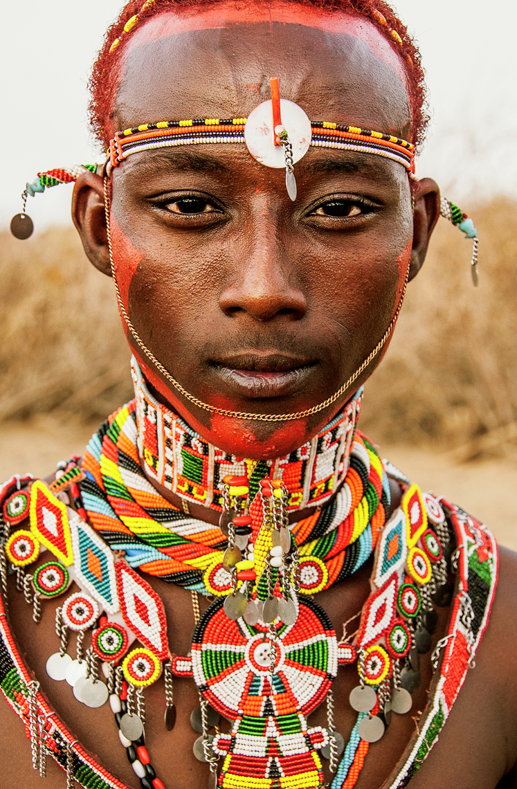 Rendille Warrior with Beaded Adornments, Kenya