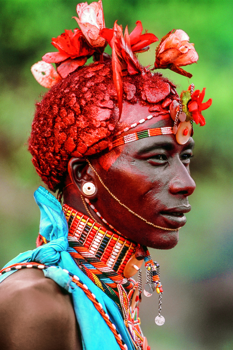 Samburu Warrior with Silk Rose Adornments, Kenya