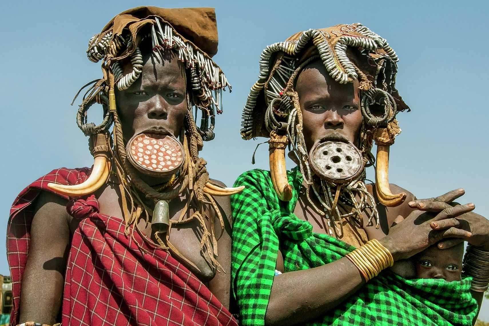 Mursi Women with Lip Plates, Omo Valley, Ethiopia