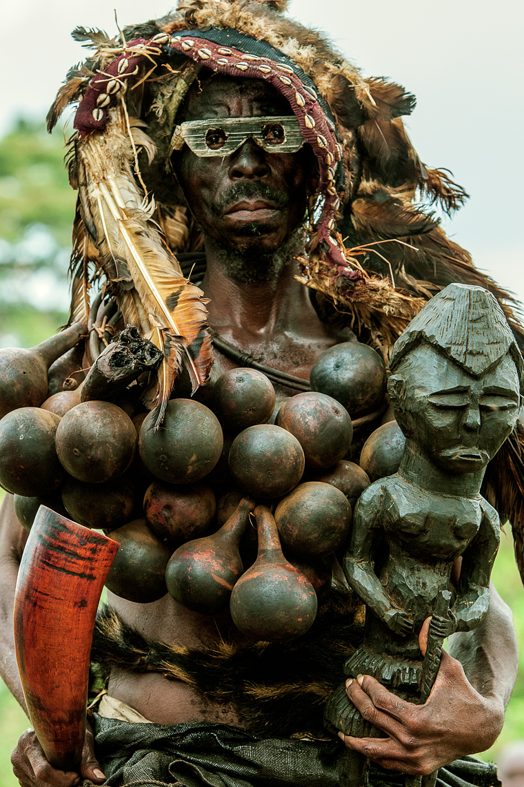 Kuba Sorcerer Adorned with Calabashes, D.R.Congo