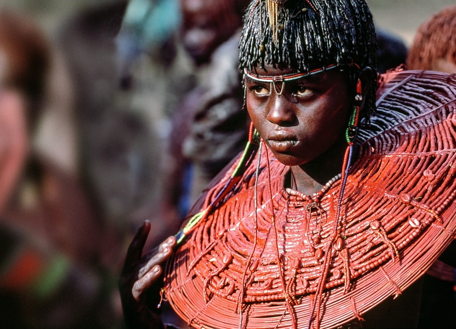 Pokot Female Initiate in Ochered Necklace, Kenya