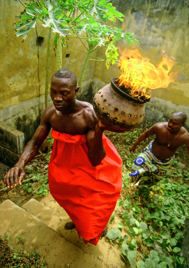 Voodoo Priest with Flaming Urn, Ouidah, Benin