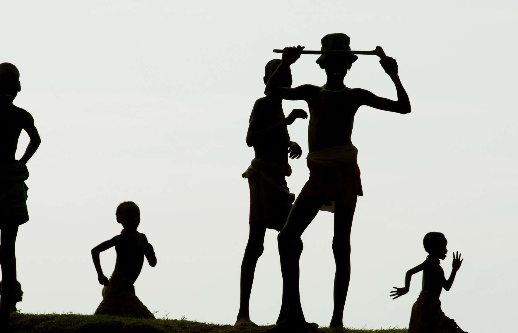 Silhouettes of Dassenech Children, Omo River, Ethiopia